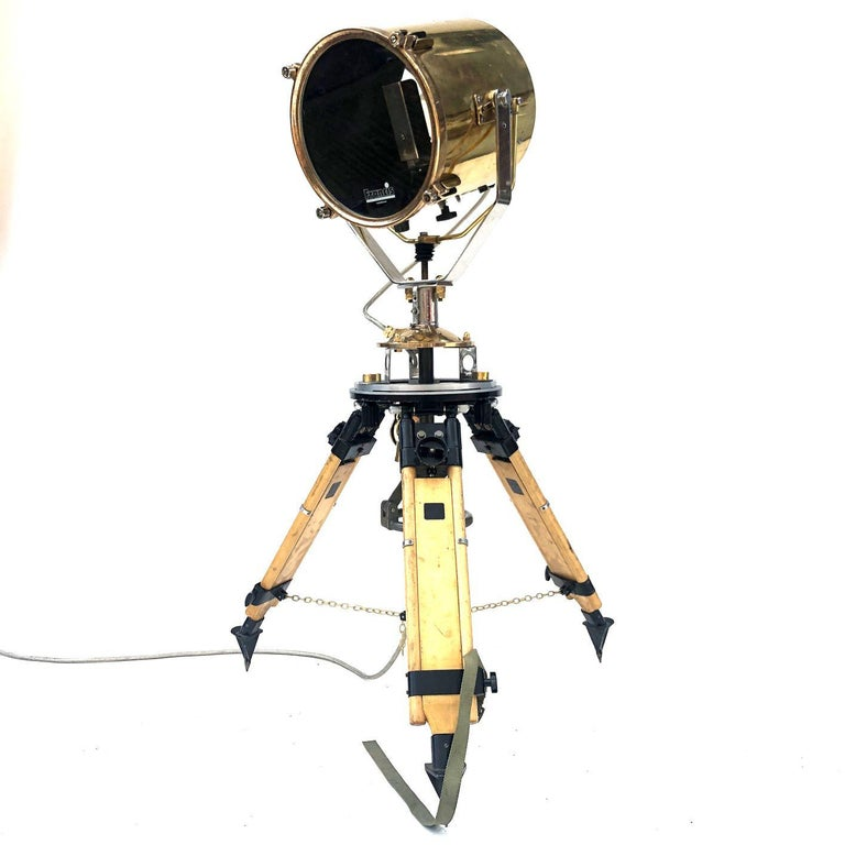 1980s Francis British Brass Search Light Russian Military Gyroscope Tripod Lamp For Sale 4