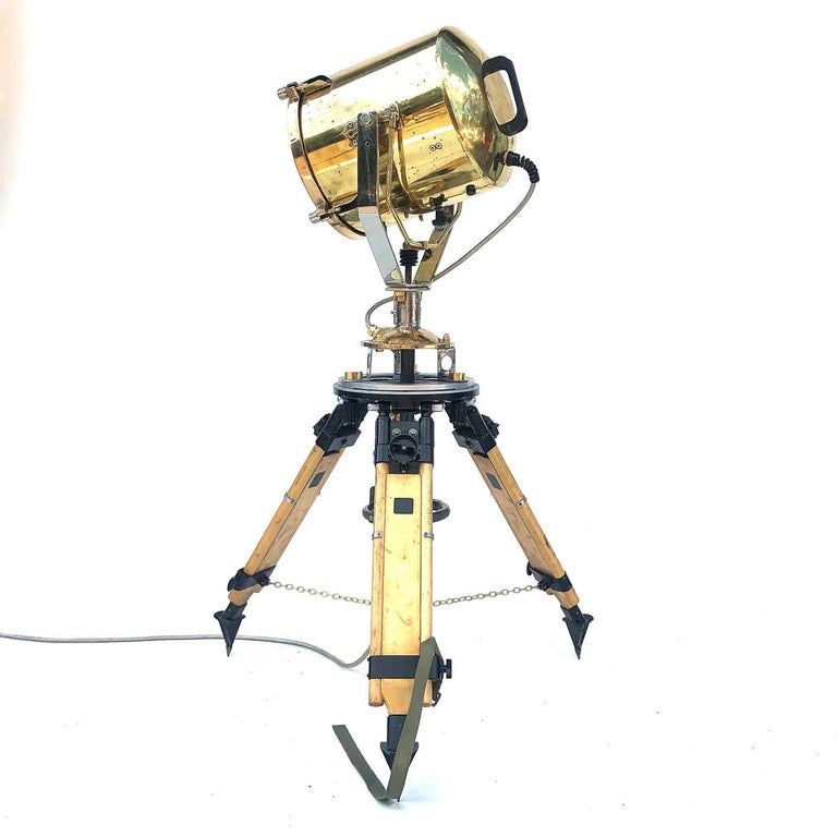 1980s Francis British Brass Search Light Russian Military Gyroscope Tripod Lamp For Sale 6