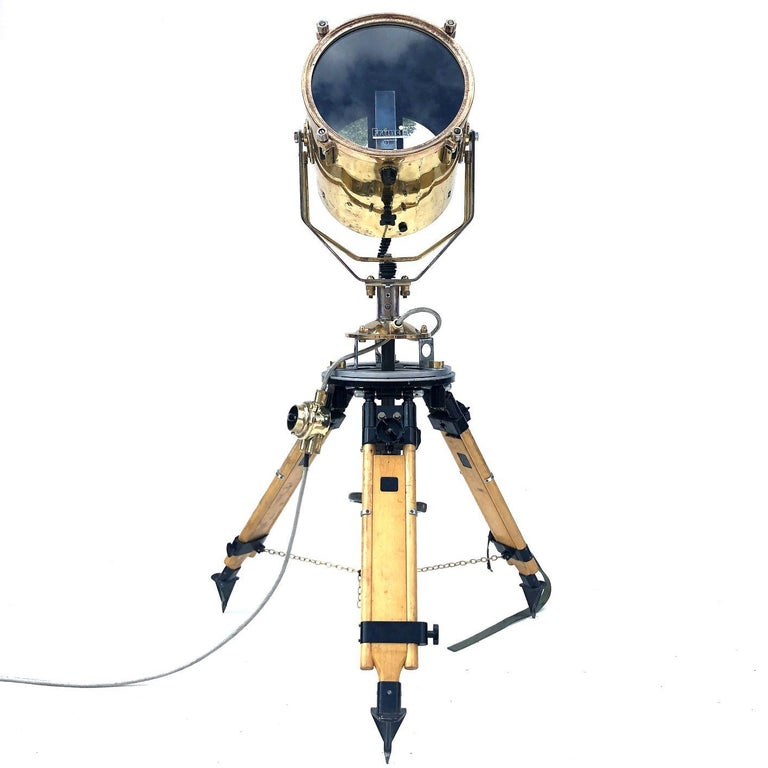 1980s Francis British Brass Search Light Russian Military Gyroscope Tripod Lamp For Sale 8