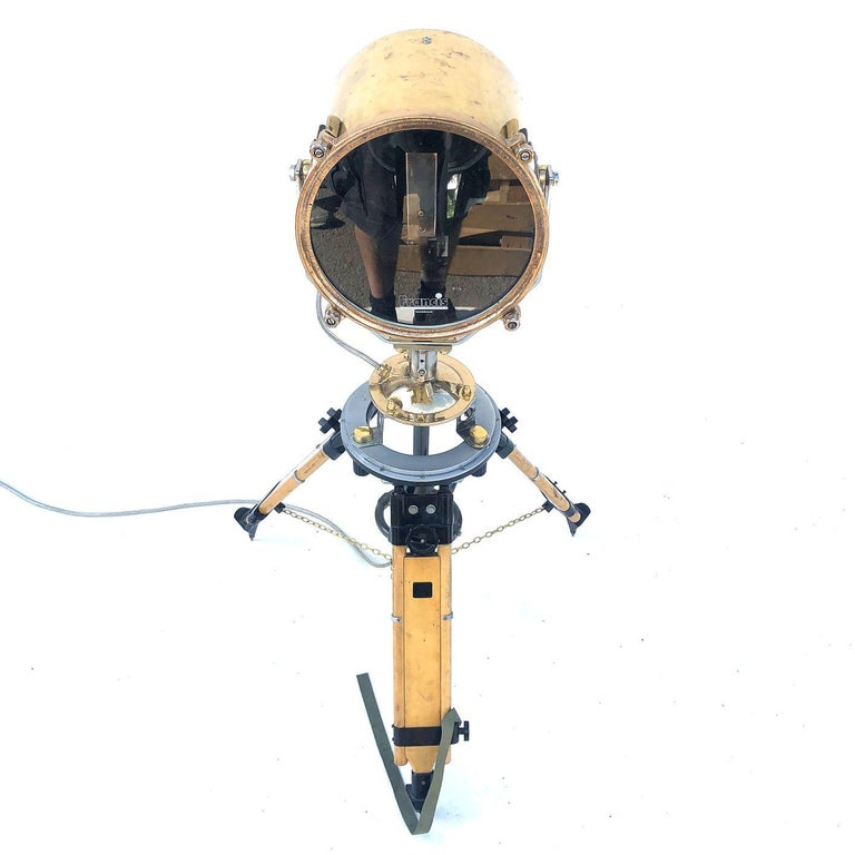 1980s Francis British Brass Search Light Russian Military Gyroscope Tripod Lamp For Sale 10