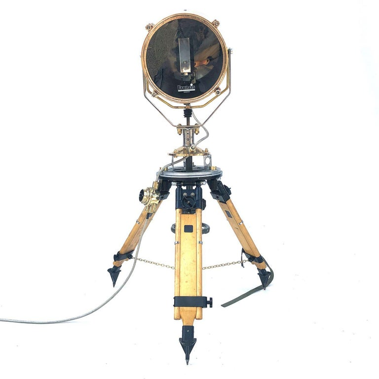 Industrial 1980s Francis British Brass Search Light Russian Military Gyroscope Tripod Lamp For Sale