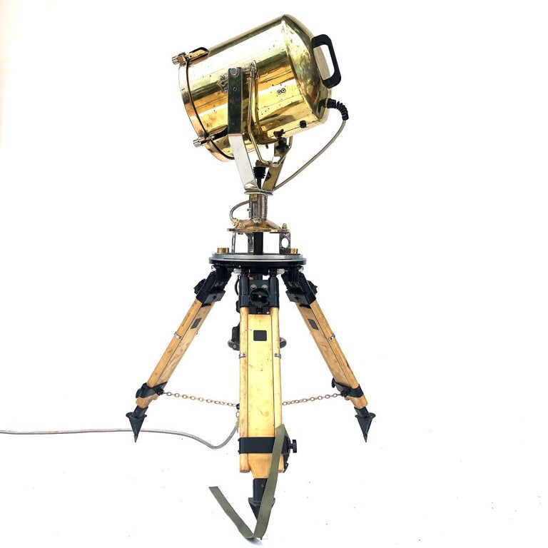 English 1980s Francis British Brass Search Light Russian Military Gyroscope Tripod Lamp For Sale