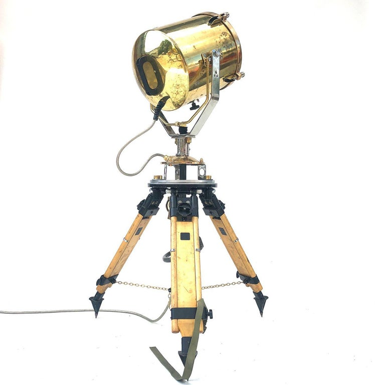 Machine-Made 1980s Francis British Brass Search Light Russian Military Gyroscope Tripod Lamp For Sale