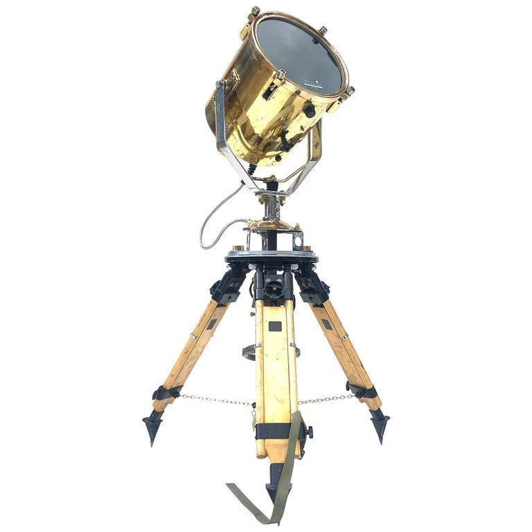 1980s Francis British Brass Search Light Russian Military Gyroscope Tripod Lamp For Sale