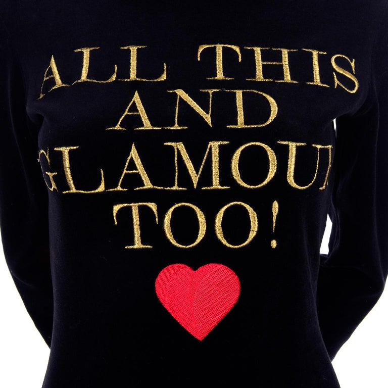1980s Franco Moschino All This and Glamour Too Vintage Black Top W Red Heart For Sale 6