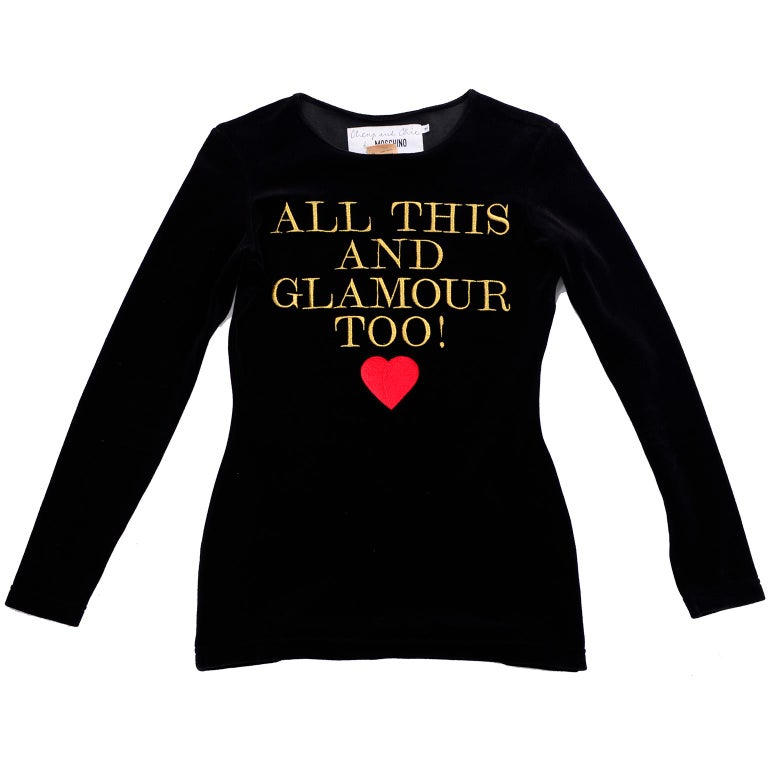This is an iconic late 1980's vintage top from Moschino Cheap and Chic with Long Sleeves and the words