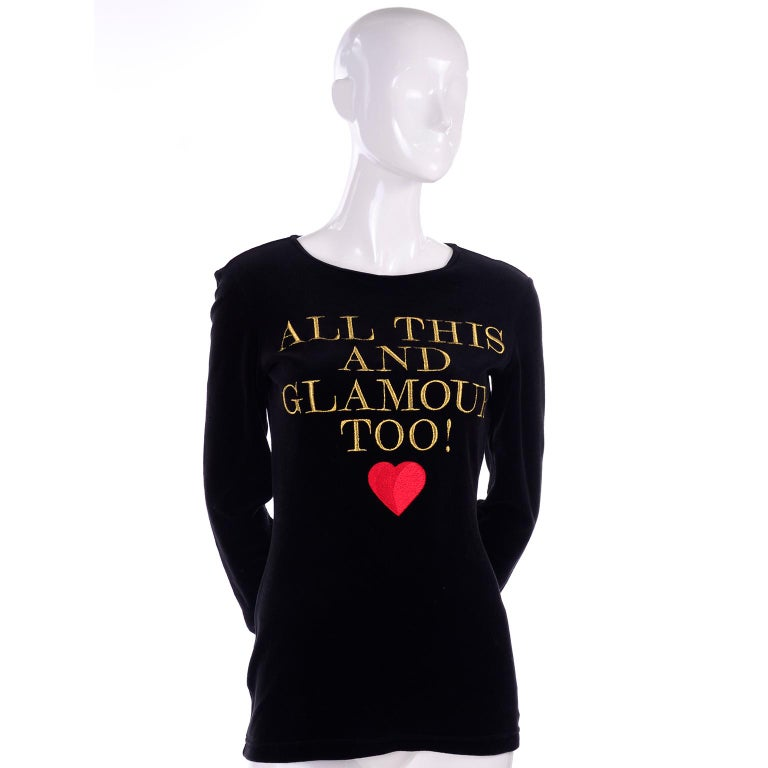 1980s Franco Moschino All This and Glamour Too Vintage Black Top W Red Heart In Excellent Condition For Sale In Portland, OR