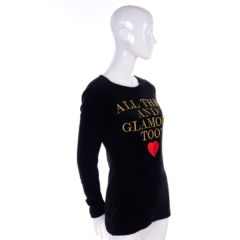 Women's 1980s Franco Moschino All This and Glamour Too Vintage Black Top W Red Heart For Sale