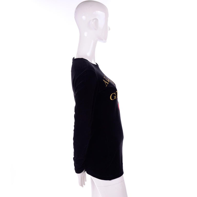 1980s Franco Moschino All This and Glamour Too Vintage Black Top W Red Heart For Sale 1