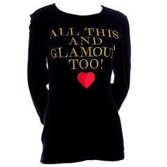 1980s Franco Moschino All This and Glamour Too Vintage Black Top W Red Heart