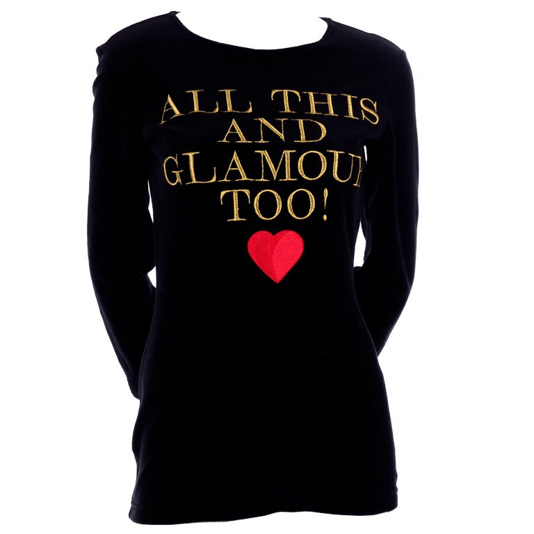 1980s Franco Moschino All This and Glamour Too Vintage Black Top W Red Heart For Sale