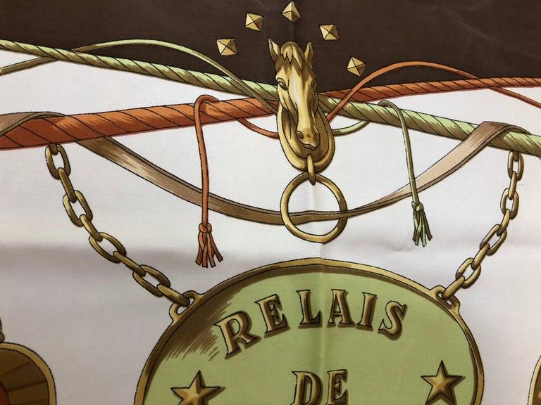 1980s Francoise Guerin Relais de la Poste Silk Scarf - Claude Loraine For Sale 3