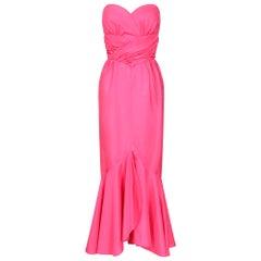 1980s Frank Usher Shocking Pink Strapless Fishtail Evening Dress