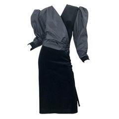 1980s Frank Usher Size 14 Black Avant Garde Taffeta + Velvet Vintage 80s Dress