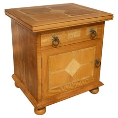 1980s French 1-Drawer 1-Door Two Tone Wooden Side Table