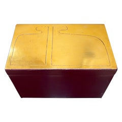 1980s French Abstract Brass and Purple Painted Wood Box