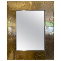 1980s French Abstract Design Brass Rectangular Mirror