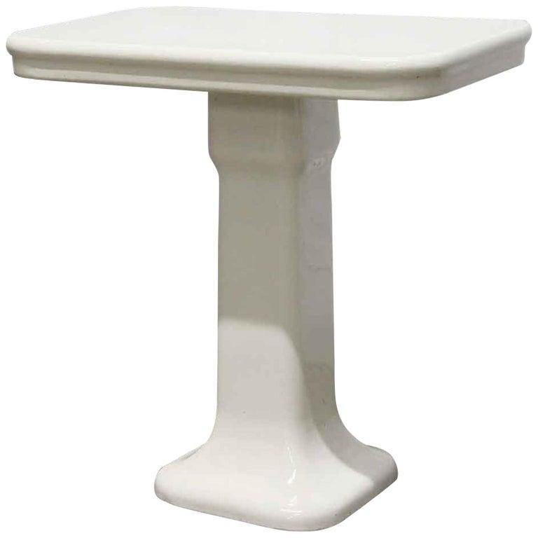 1980s French Art Deco White Ceramic Bathroom Console For Sale