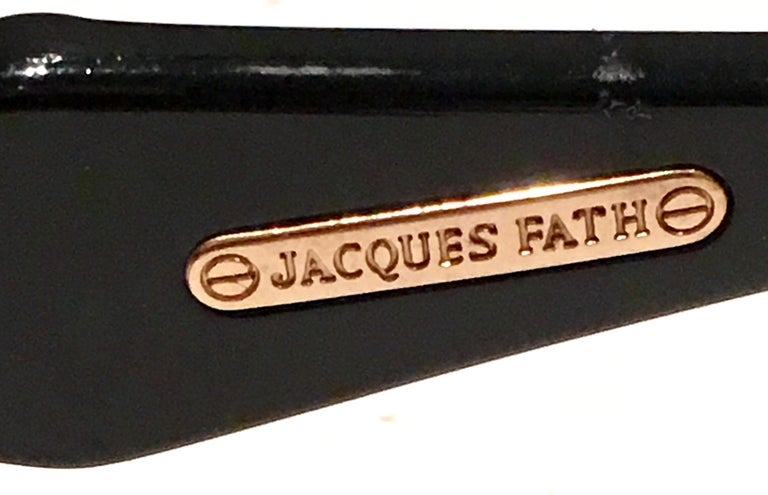 1980'S French Black & Gold Sunglasses By, Jacques Fath For Sale 5
