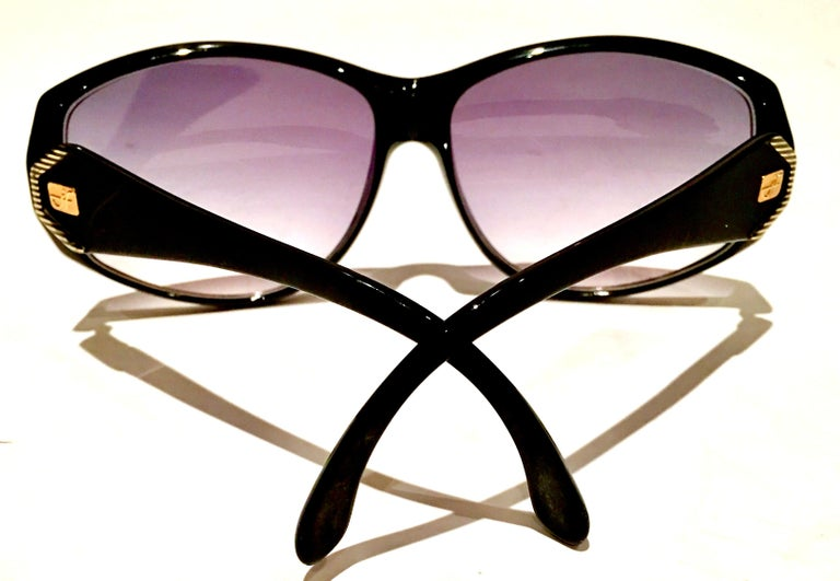 Purple 1980'S French Black & Gold Sunglasses By, Jacques Fath For Sale
