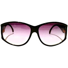 1980'S French Black & Gold Sunglasses By, Jacques Fath
