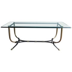 1980s French Bronze and Iron Dining Table with Iron Claw Feet