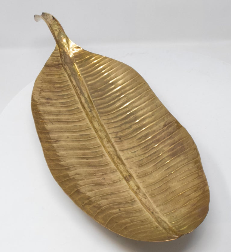 1980s French bronze leaf shaped tray.