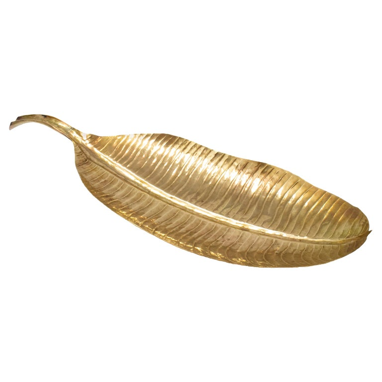 1980s French Bronze Leaf Shaped Tray For Sale