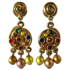1980's  French Gold Swirl Statement Jeweled Chandelier Statement Earrings