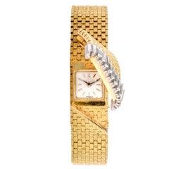 1980s French Ladies Baguette Diamond 18 Karat Cover Watch