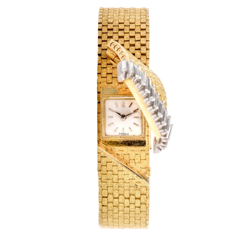 1980s French Ladies Baguette Diamond 18 Karat Cover Watch For Sale