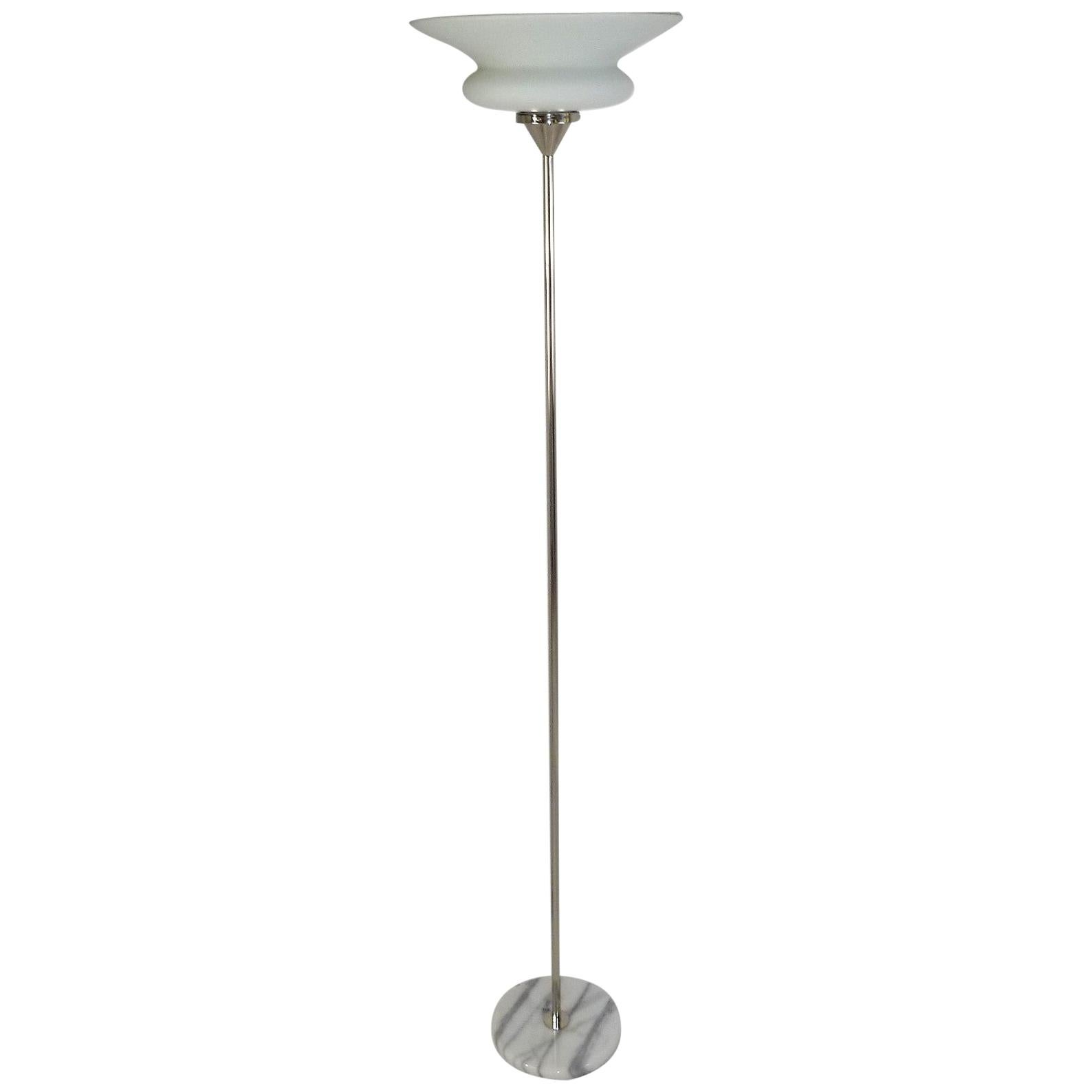 1980s French Marble Base Satin Glass Floor Lamp