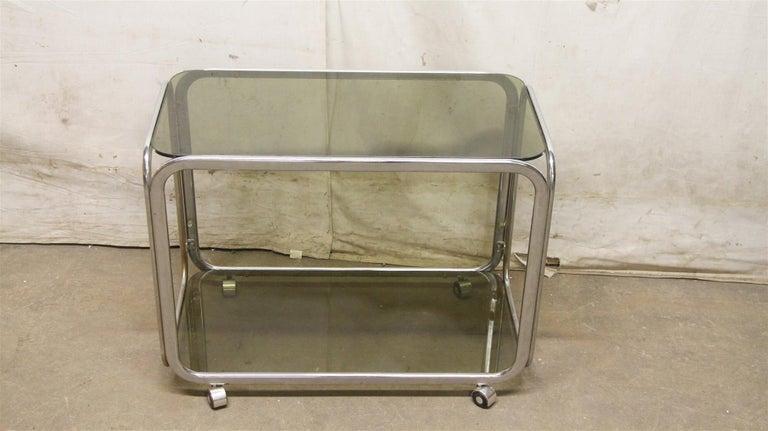 European 1980s French Mid-Century Modern Chrome Bar Cart with Dark Glass Shelves