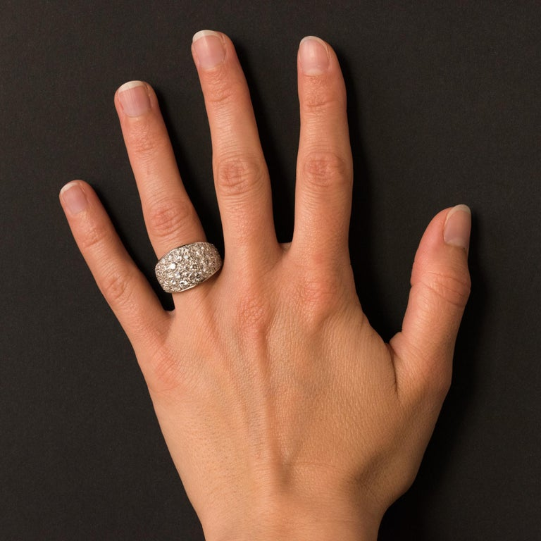1980s French Modern 1.20 Carat Diamonds Platinum Bangle Ring For Sale 6