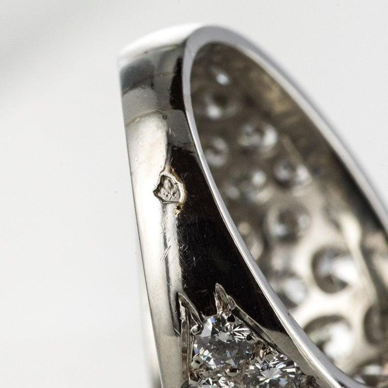 1980s French Modern 1.20 Carat Diamonds Platinum Bangle Ring For Sale 9