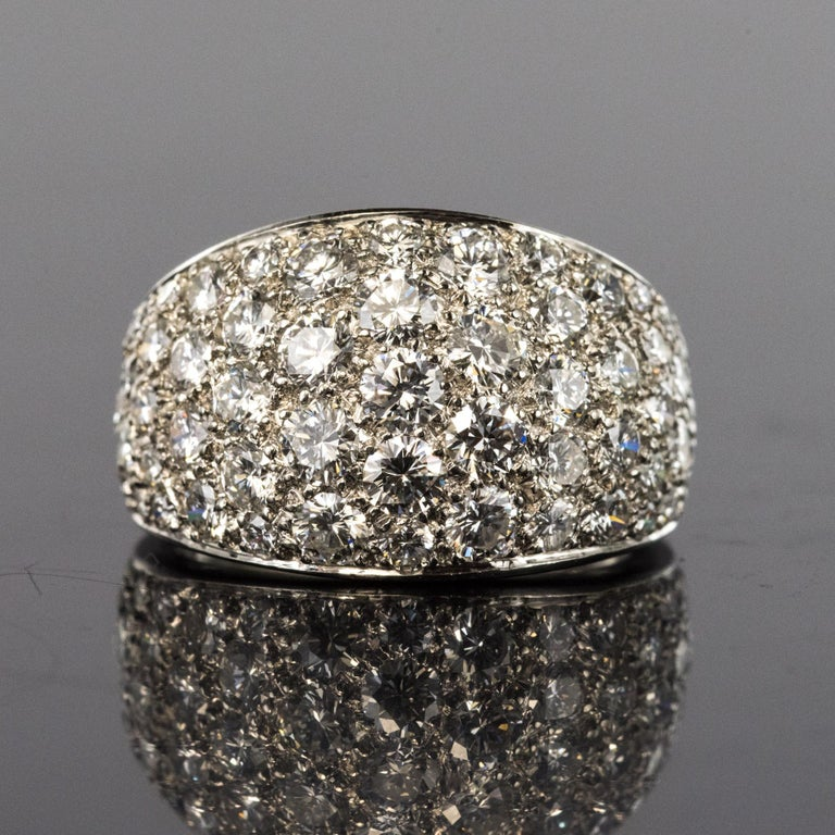 Marquise Cut 1980s French Modern 1.20 Carat Diamonds Platinum Bangle Ring For Sale