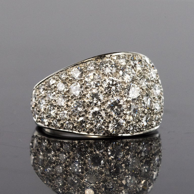 1980s French Modern 1.20 Carat Diamonds Platinum Bangle Ring In Excellent Condition For Sale In Poitiers, FR