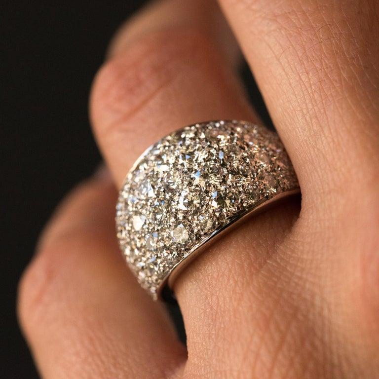 Women's 1980s French Modern 1.20 Carat Diamonds Platinum Bangle Ring For Sale