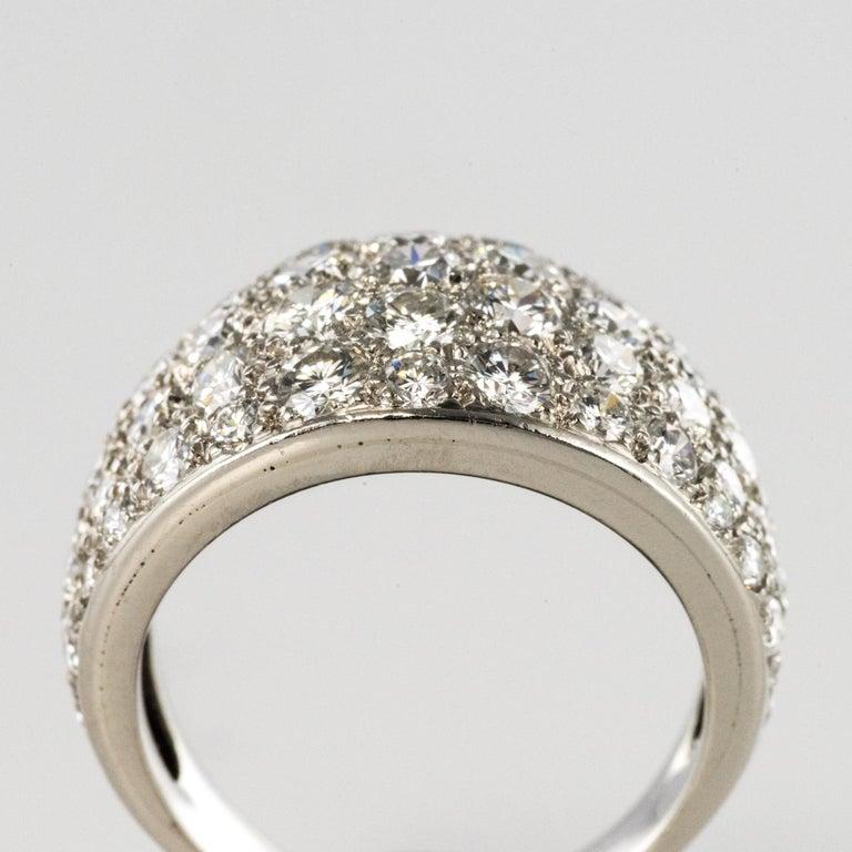 1980s French Modern 1.20 Carat Diamonds Platinum Bangle Ring For Sale 1