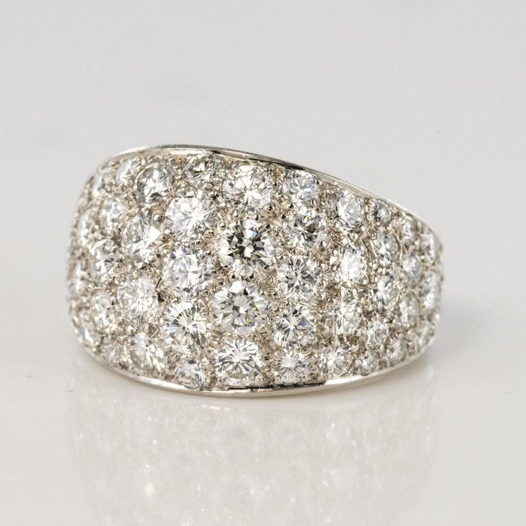 1980s French Modern 1.20 Carat Diamonds Platinum Bangle Ring For Sale 2
