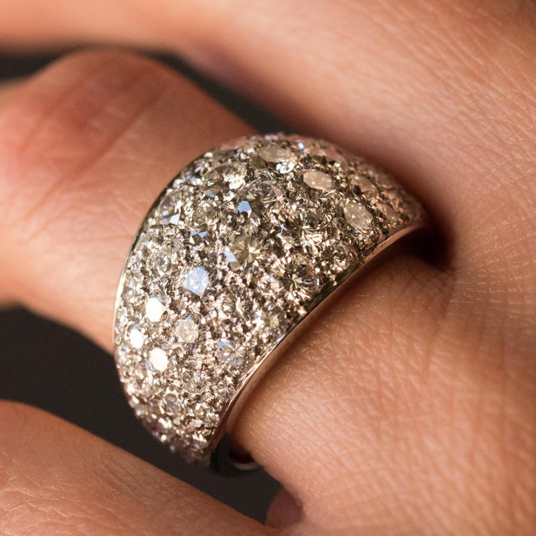 1980s French Modern 1.20 Carat Diamonds Platinum Bangle Ring For Sale 3