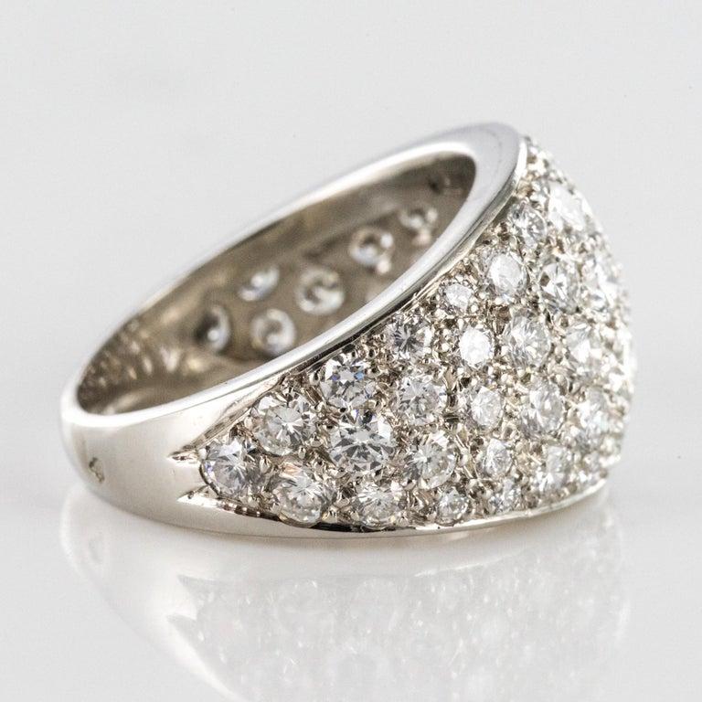 1980s French Modern 1.20 Carat Diamonds Platinum Bangle Ring For Sale 4