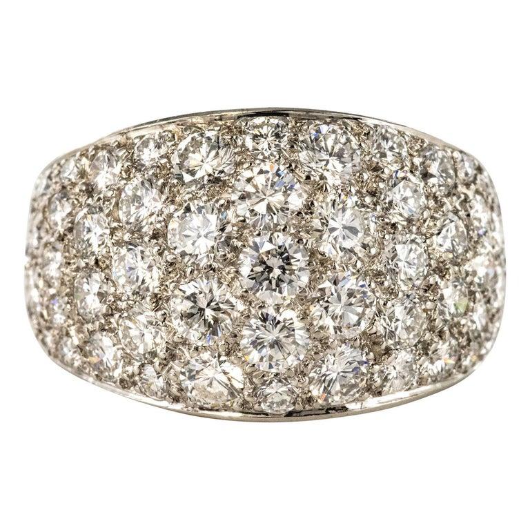 1980s French Modern 1.20 Carat Diamonds Platinum Bangle Ring For Sale