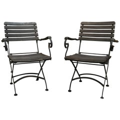1980s French Pair of Iron and Wood Garden Armchairs