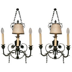 1980s French Pair of Wrought Iron Wall Lamps