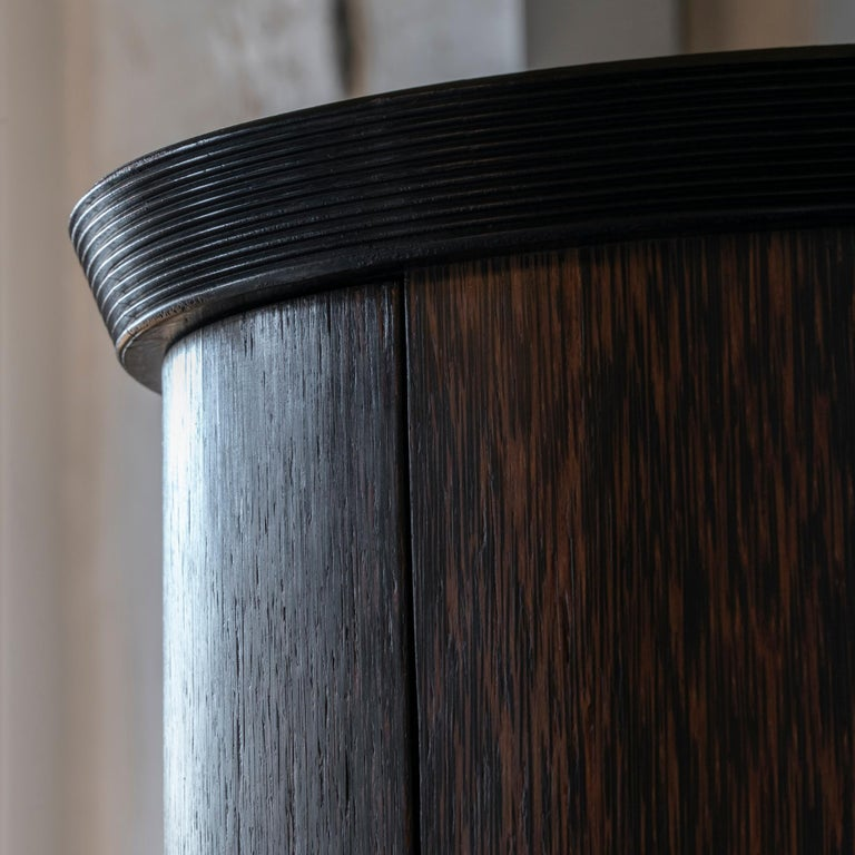 1980s French Palm Wood Round Bar Cabinet For Sale at 1stdibs