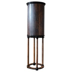 1980s French Palm Wood Round Bar Cabinet