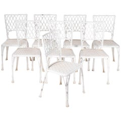 1980s French Set of Eight Aluminium Chairs Imitating Bamboo and Rattan