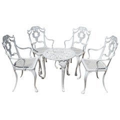 1980s French Style Cast Iron Set of Table and Four Chairs