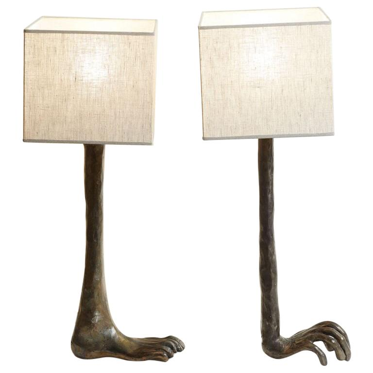 1980s French Unique Bronze Hand and Foot Design Signed Pair of Lamps